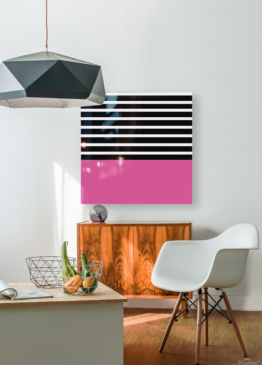 Black & White Stripes with Cranberry Patch  HD Metal print with Floating Frame on Back