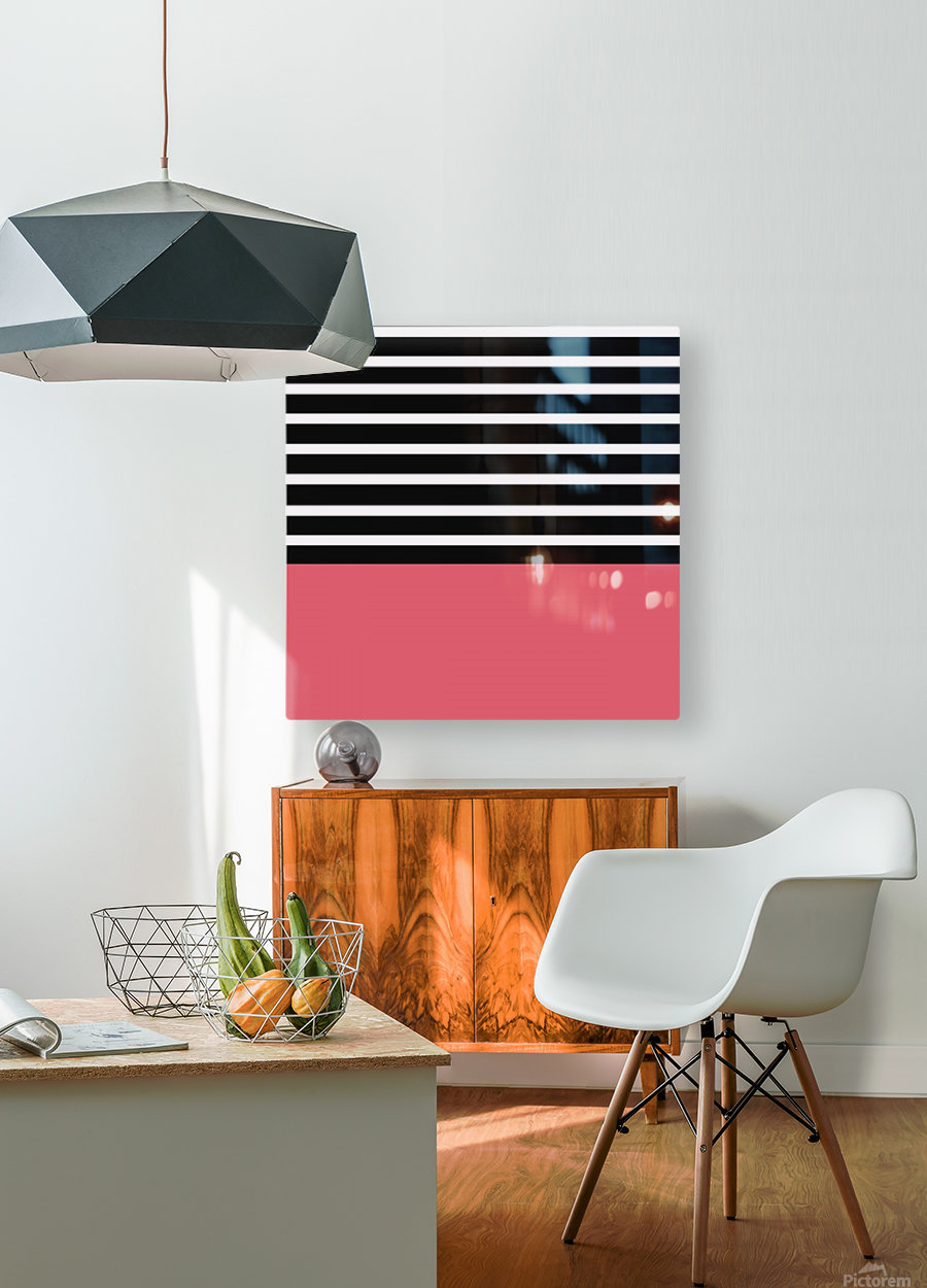 Black & White Stripes with Bitter Sweet Patch  HD Metal print with Floating Frame on Back