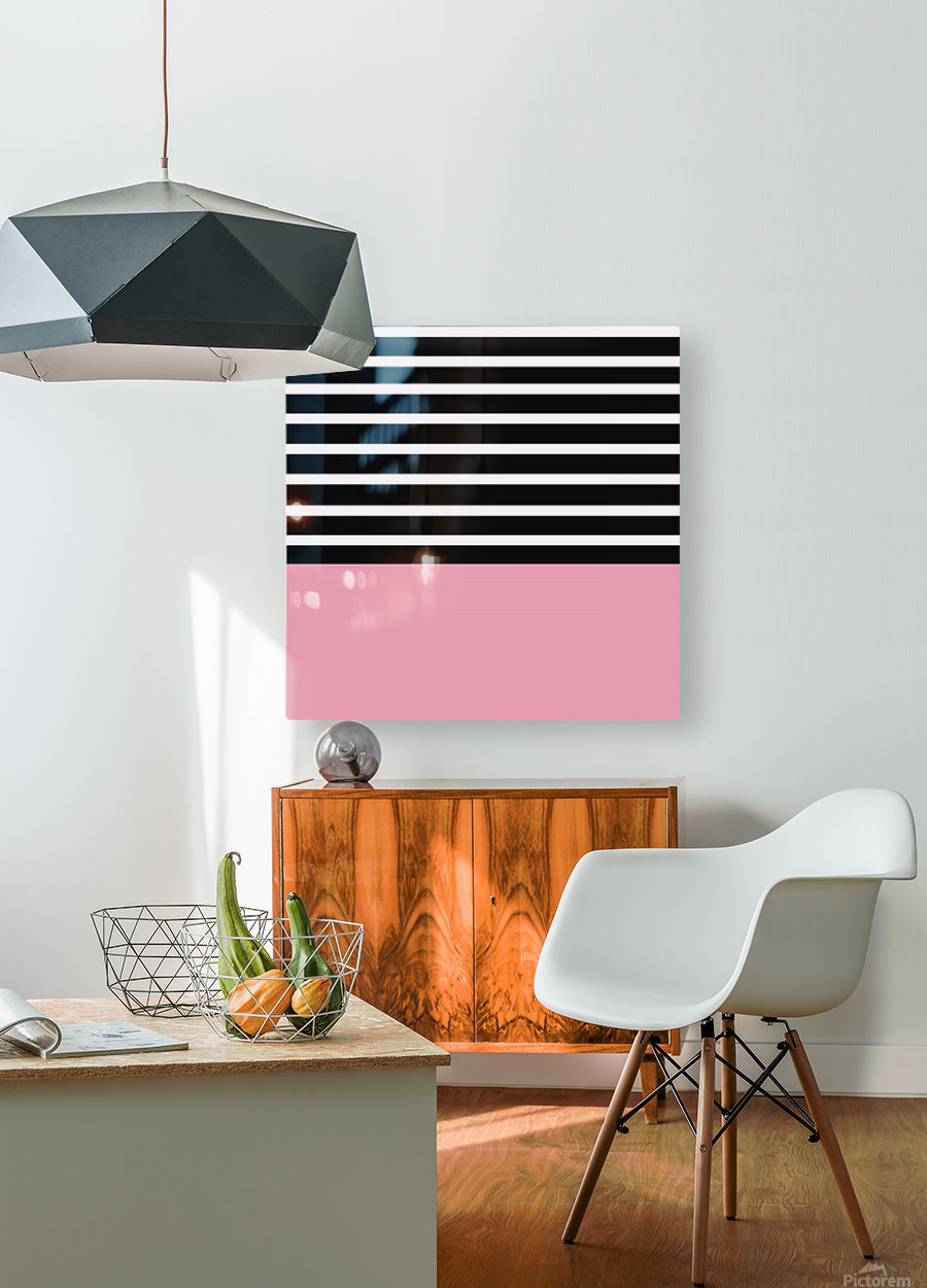 Black & White Stripes with Pacific Rose Patch  HD Metal print with Floating Frame on Back