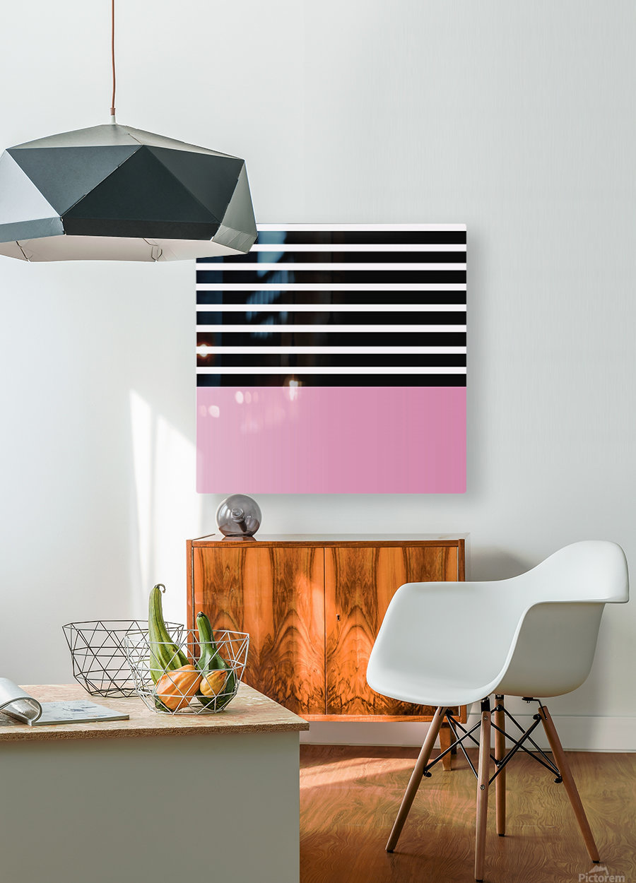 Black & White Stripes with Baby Pink Patch  HD Metal print with Floating Frame on Back