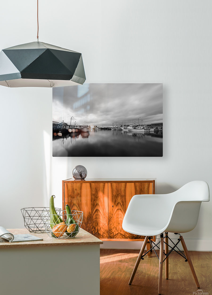 Monochrome harbor  HD Metal print with Floating Frame on Back