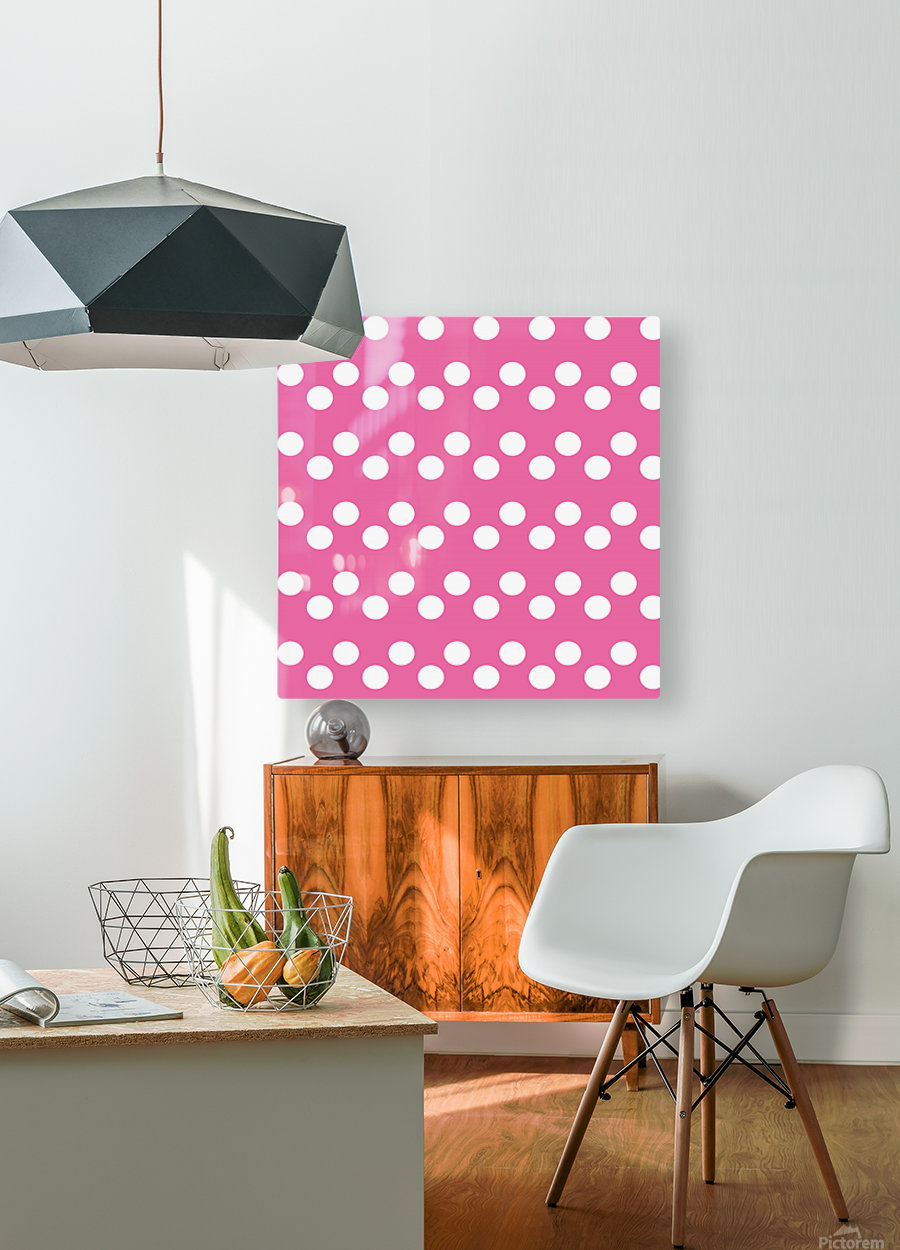 HOT PINK Polka Dots  HD Metal print with Floating Frame on Back
