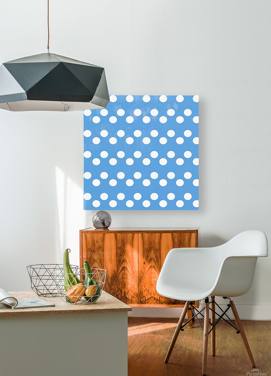 CORNFLOWER Polka Dots  HD Metal print with Floating Frame on Back