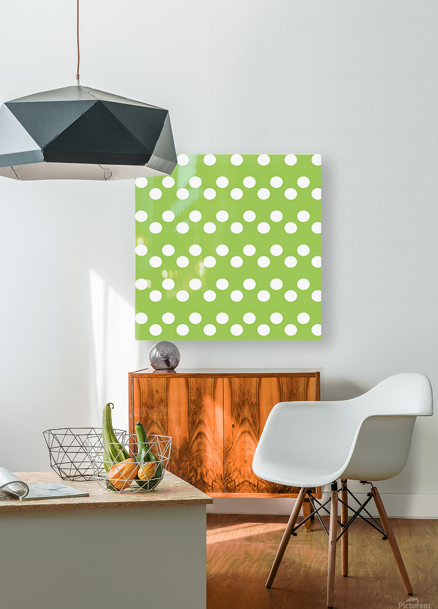 Dark Olive Green Polka Dots  HD Metal print with Floating Frame on Back