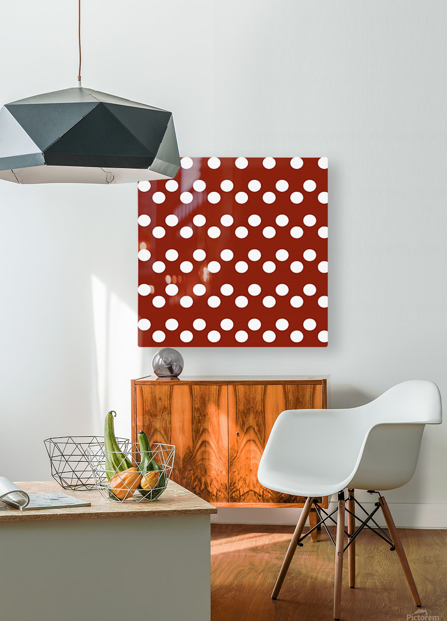 Crimson Polka Dots  HD Metal print with Floating Frame on Back