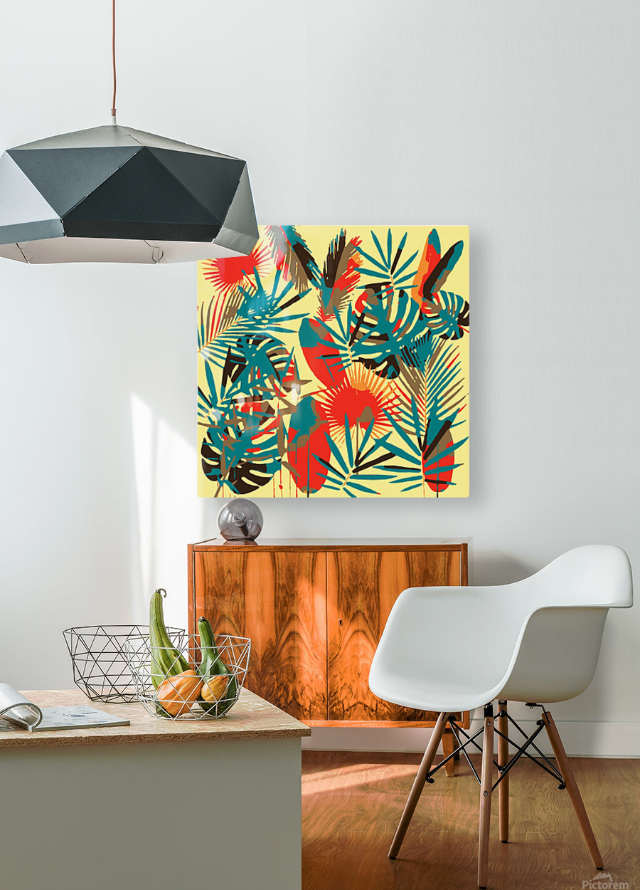 Colorful Abstract Tropical Leaves   HD Metal print with Floating Frame on Back