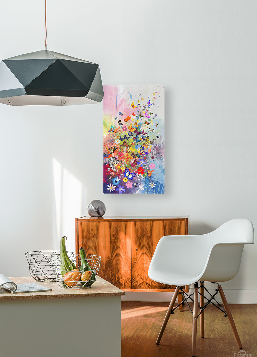 Butterflies and Flowers   HD Metal print with Floating Frame on Back