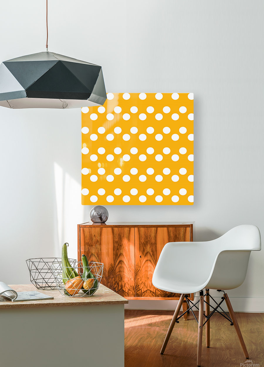 SUNFLOWER Polka Dots  HD Metal print with Floating Frame on Back
