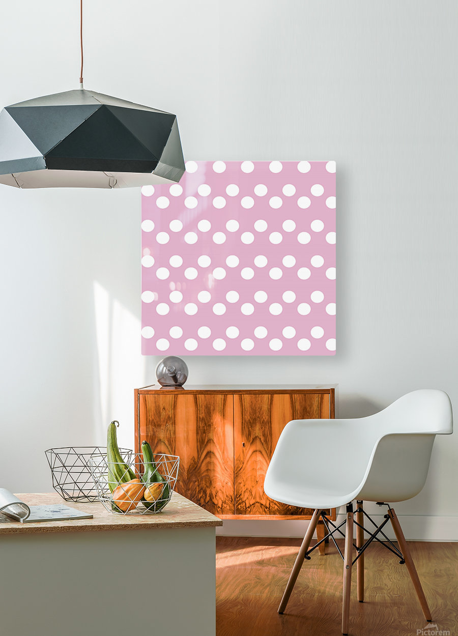 Sweet Lilac Polka Dots  HD Metal print with Floating Frame on Back