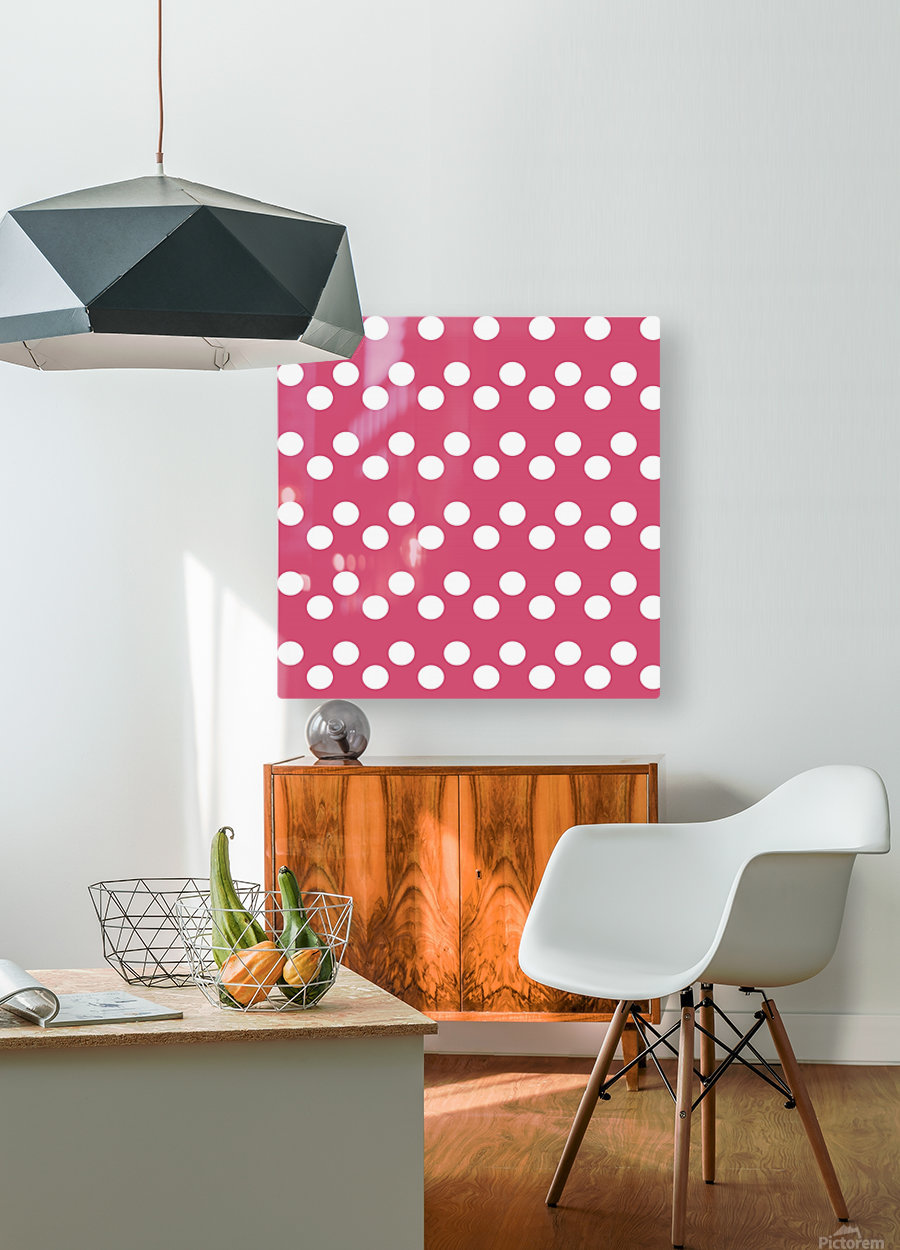 Sweet Pink Polka Dots  HD Metal print with Floating Frame on Back