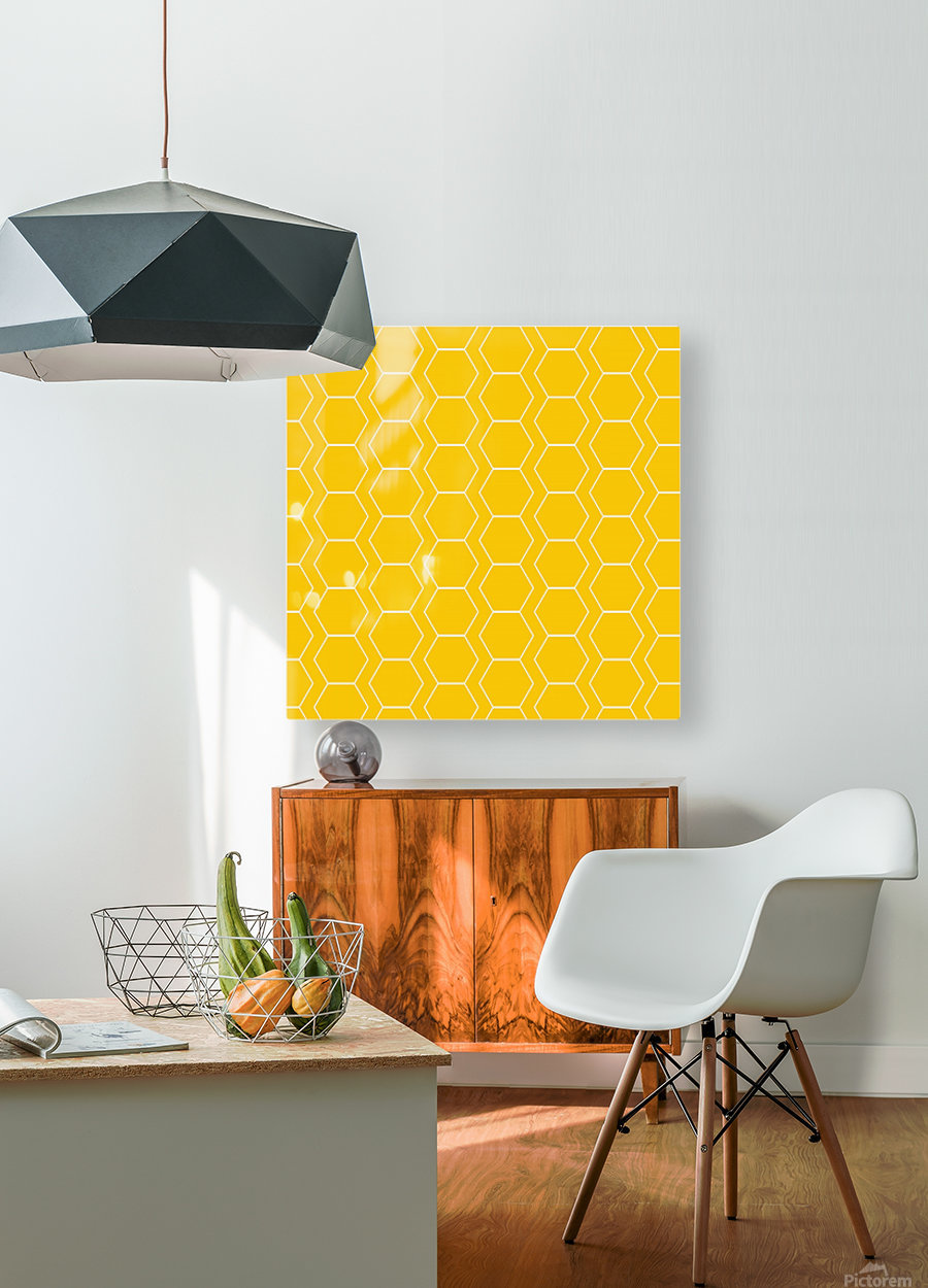 Yellow  White Hexagen  HD Metal print with Floating Frame on Back