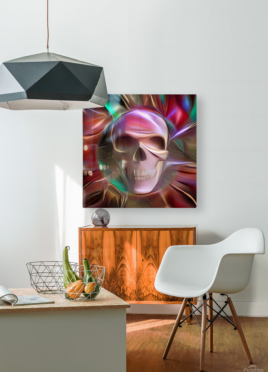 Glowing Skull  HD Metal print with Floating Frame on Back