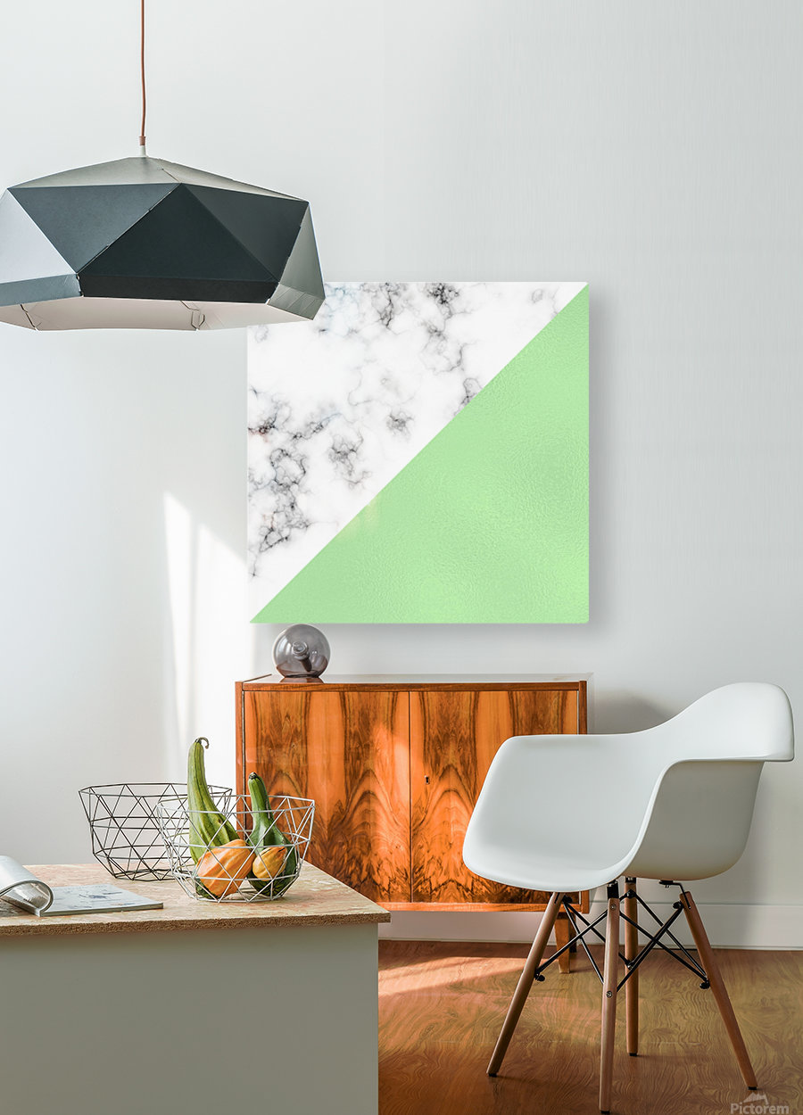 ABSTRACT MODERN GREEN GLASS MARBLE  HD Metal print with Floating Frame on Back