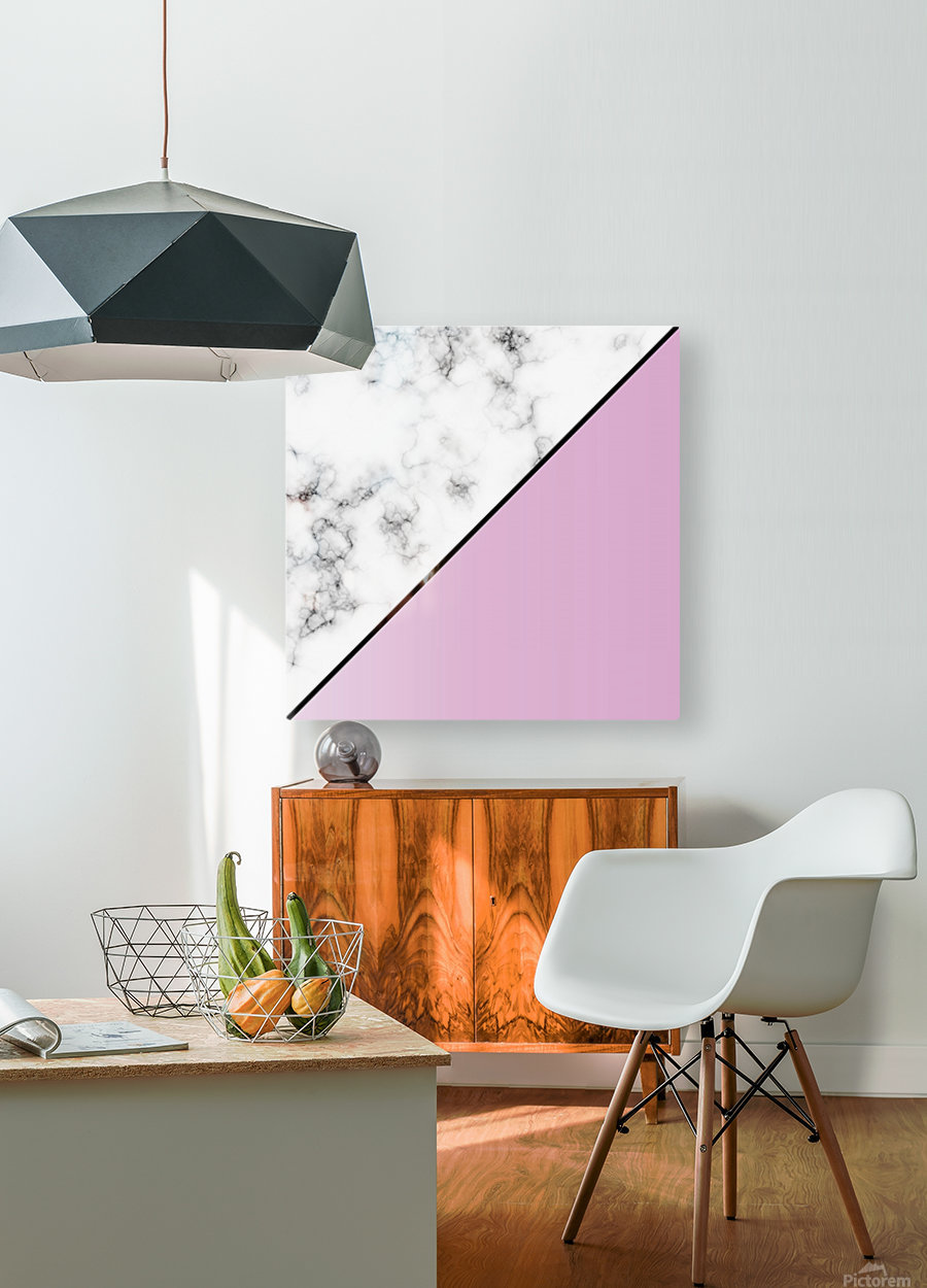 ABSTRACT MODERN PINKY MARBLE  HD Metal print with Floating Frame on Back
