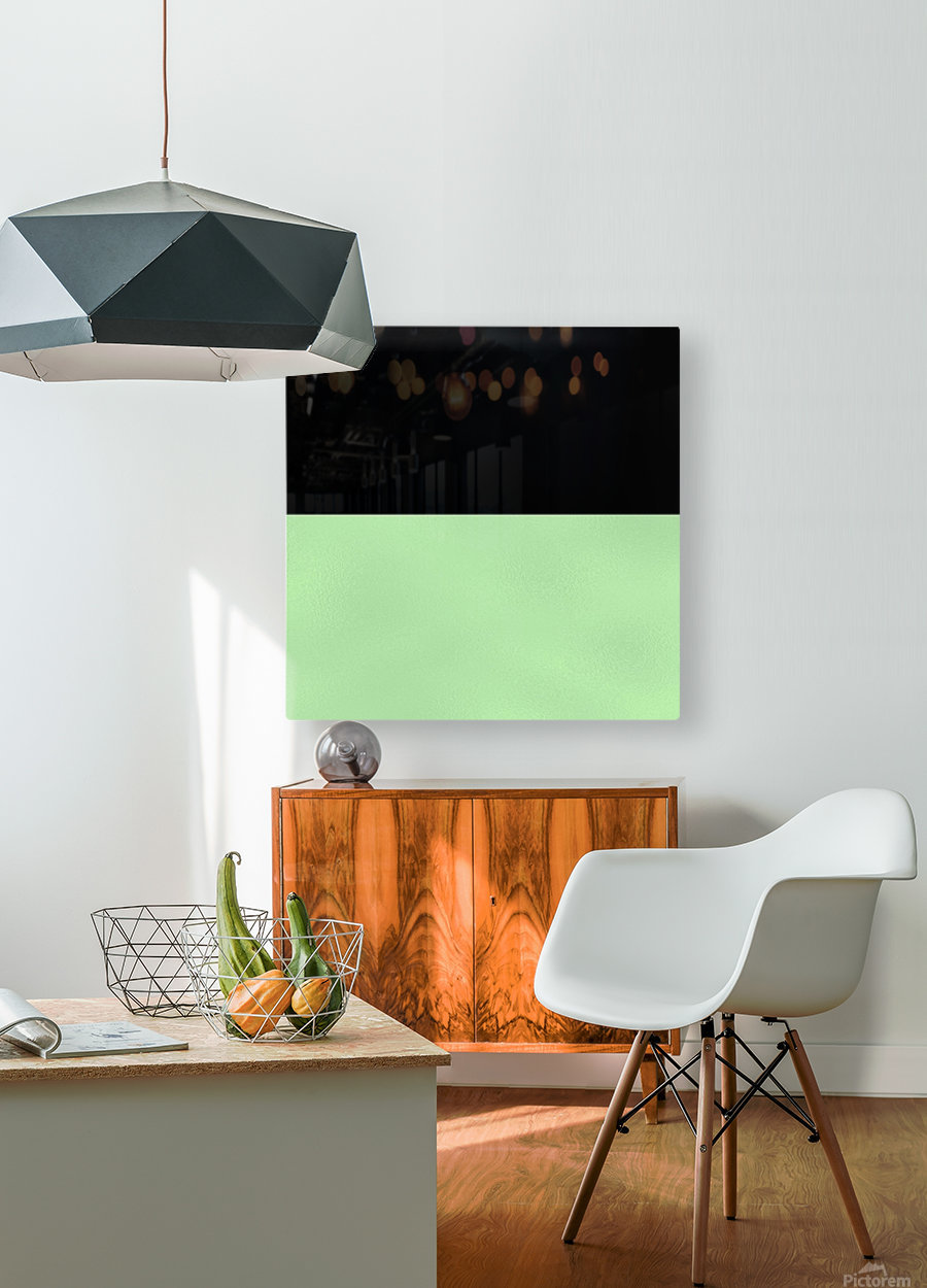 ABSTRACT GREEN GLITTER  HD Metal print with Floating Frame on Back