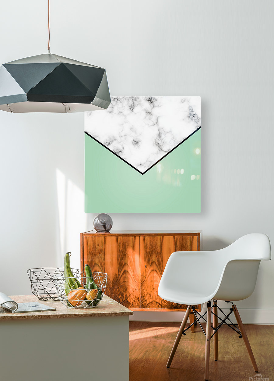 ABSTRACT GREEN PASTEL MODERN MARBLE  HD Metal print with Floating Frame on Back