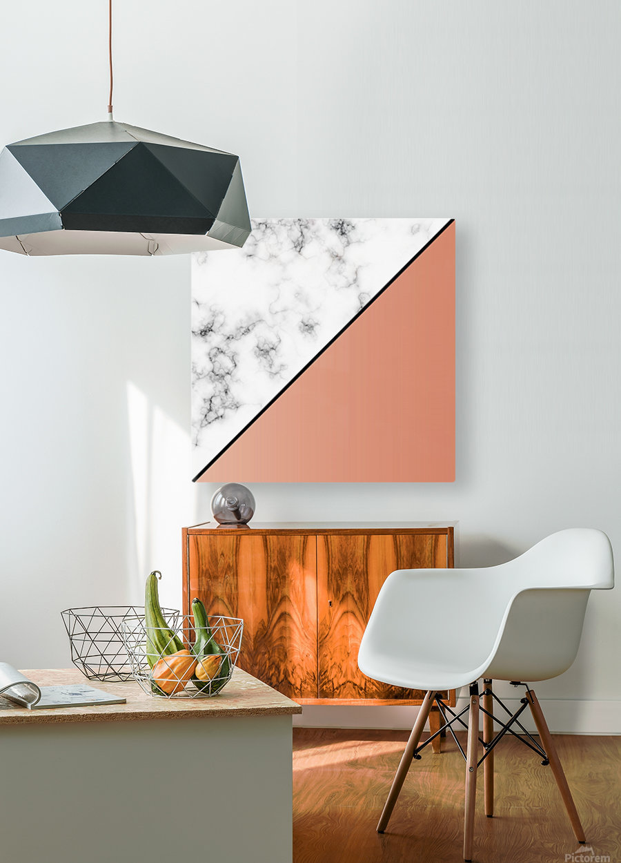 ABSTRACT MODERN ORANGE MARBLE  HD Metal print with Floating Frame on Back