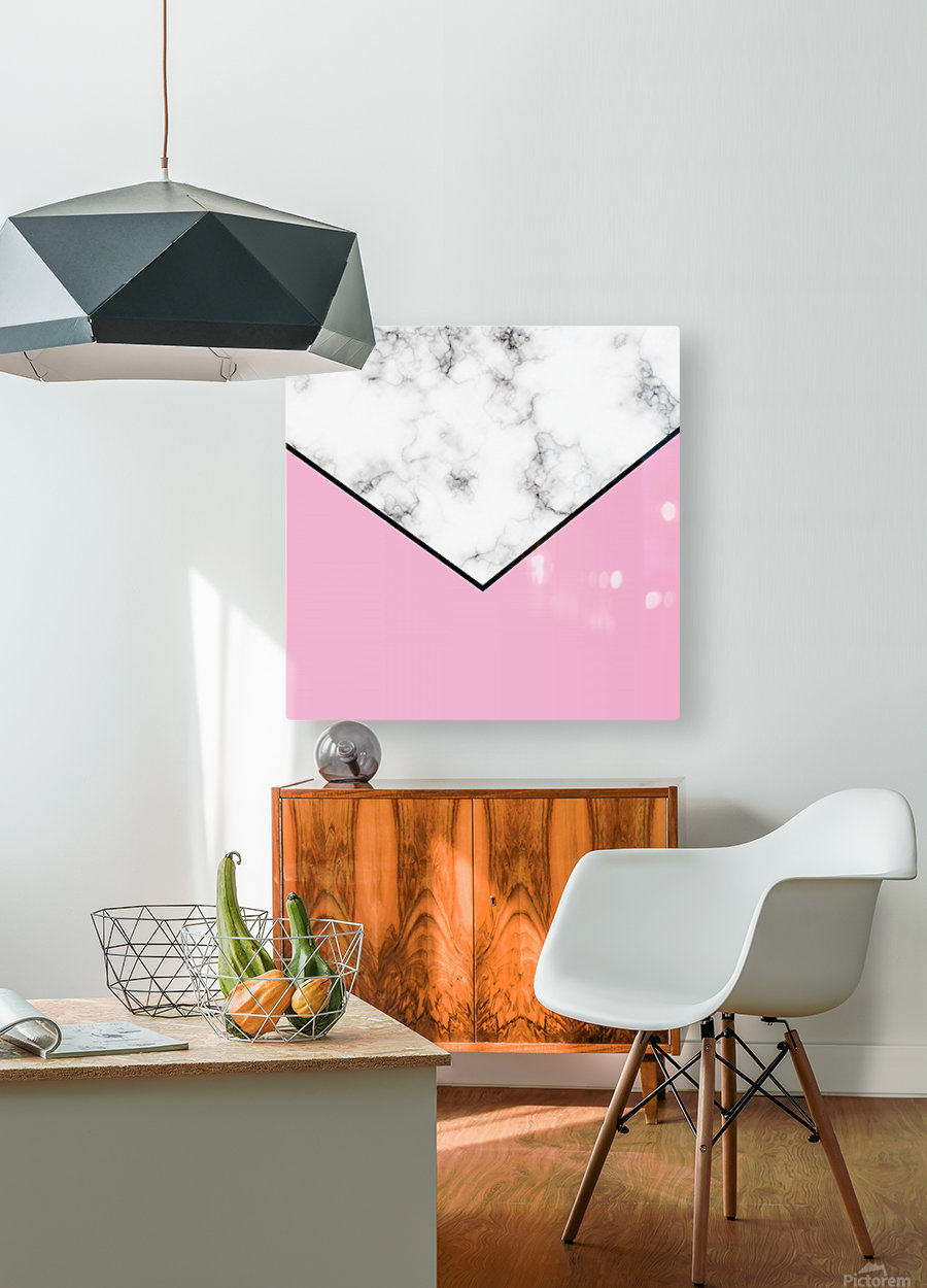 ABSTRACT PINKY MODERN MARBLE  HD Metal print with Floating Frame on Back
