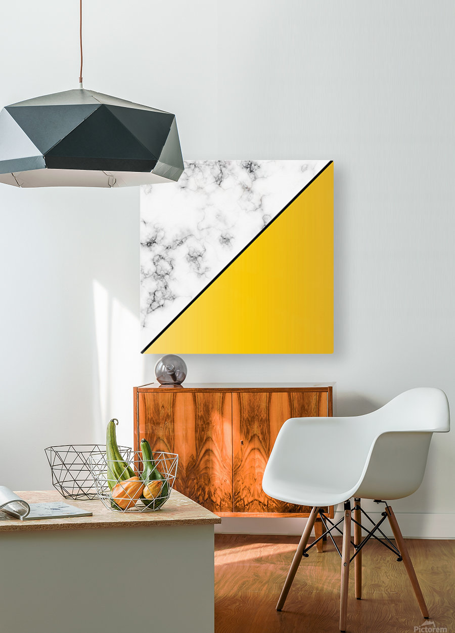 ABSTRACT MODERN YELLOW MARBLE  HD Metal print with Floating Frame on Back
