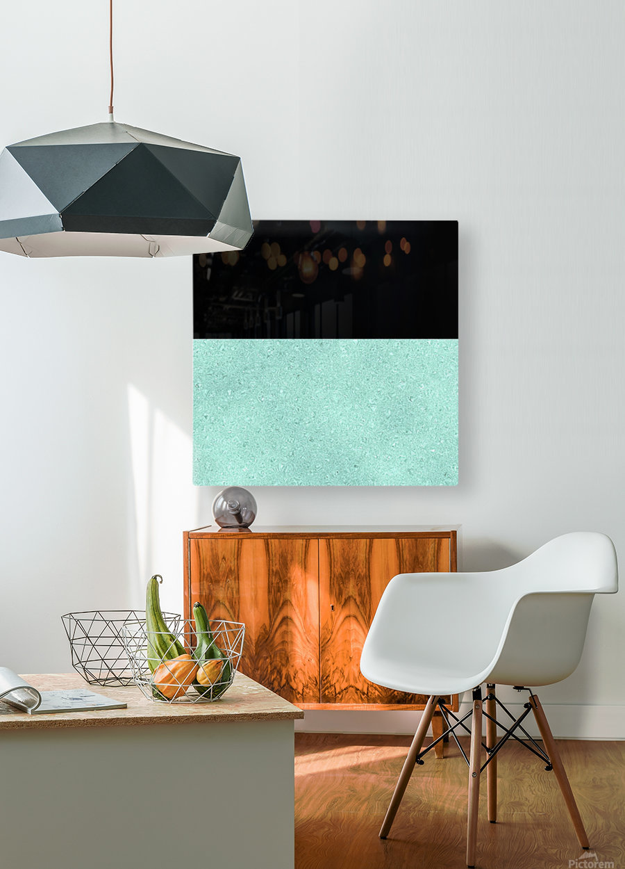 ABSTRACT TURQUOISE GLITTER  HD Metal print with Floating Frame on Back