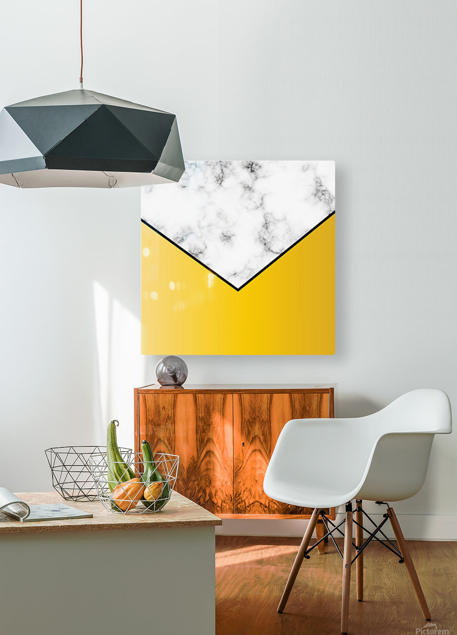 ABSTRACT YELLOW PASTEL MODERN MARBLE  HD Metal print with Floating Frame on Back