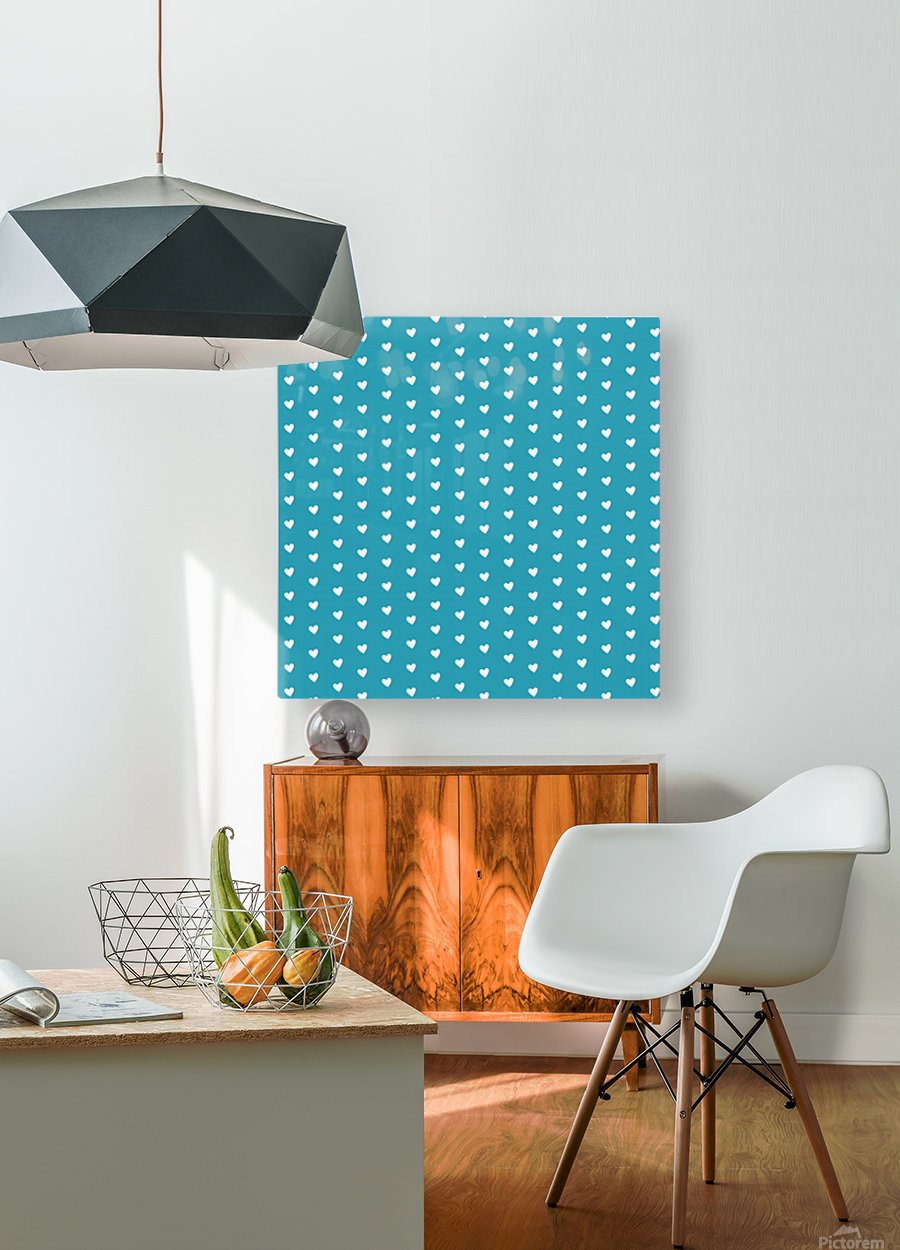 Light Sea Green Heart Shape Pattern  HD Metal print with Floating Frame on Back