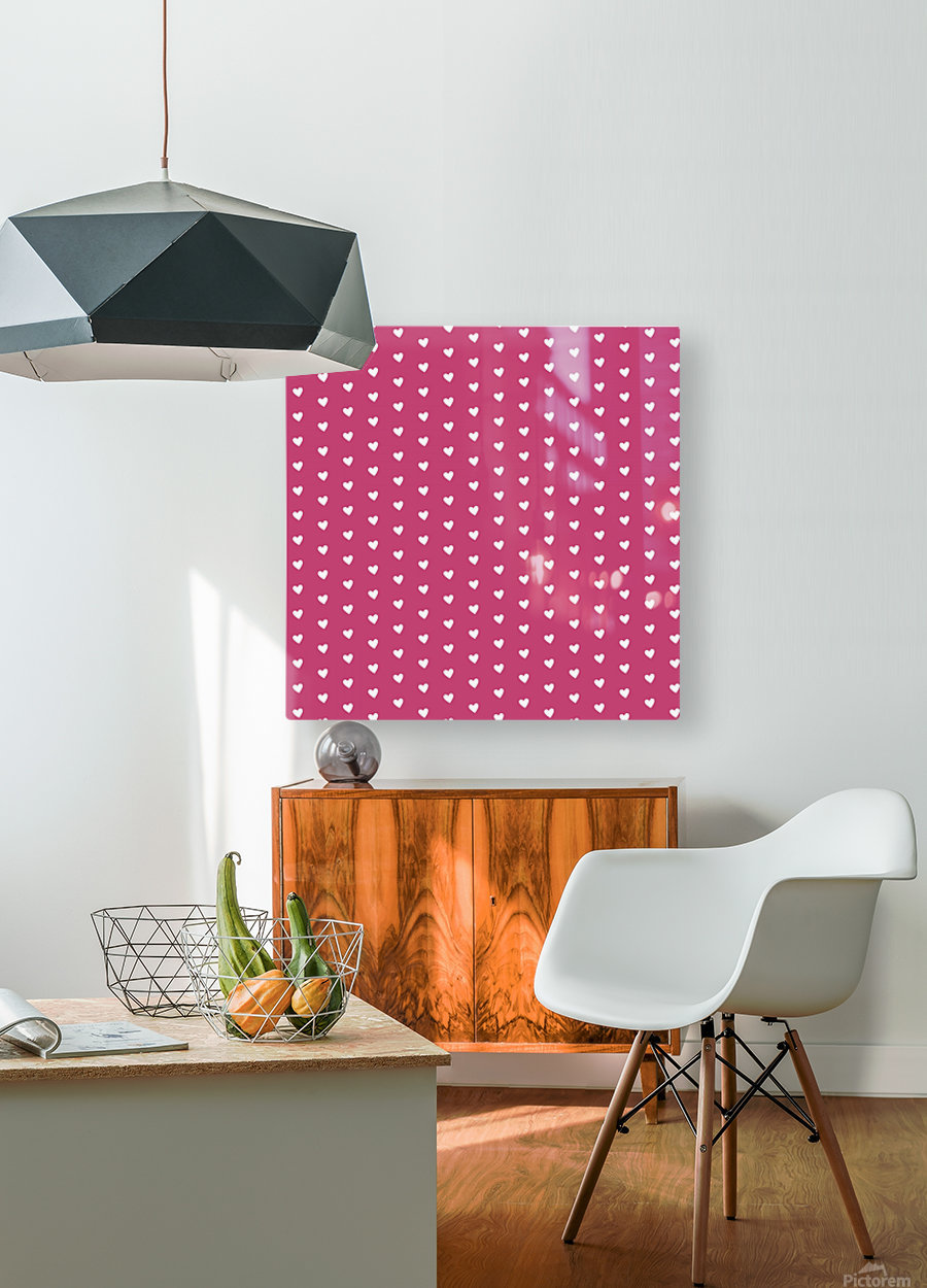 Fuchsia Rose Heart Shape Pattern  HD Metal print with Floating Frame on Back