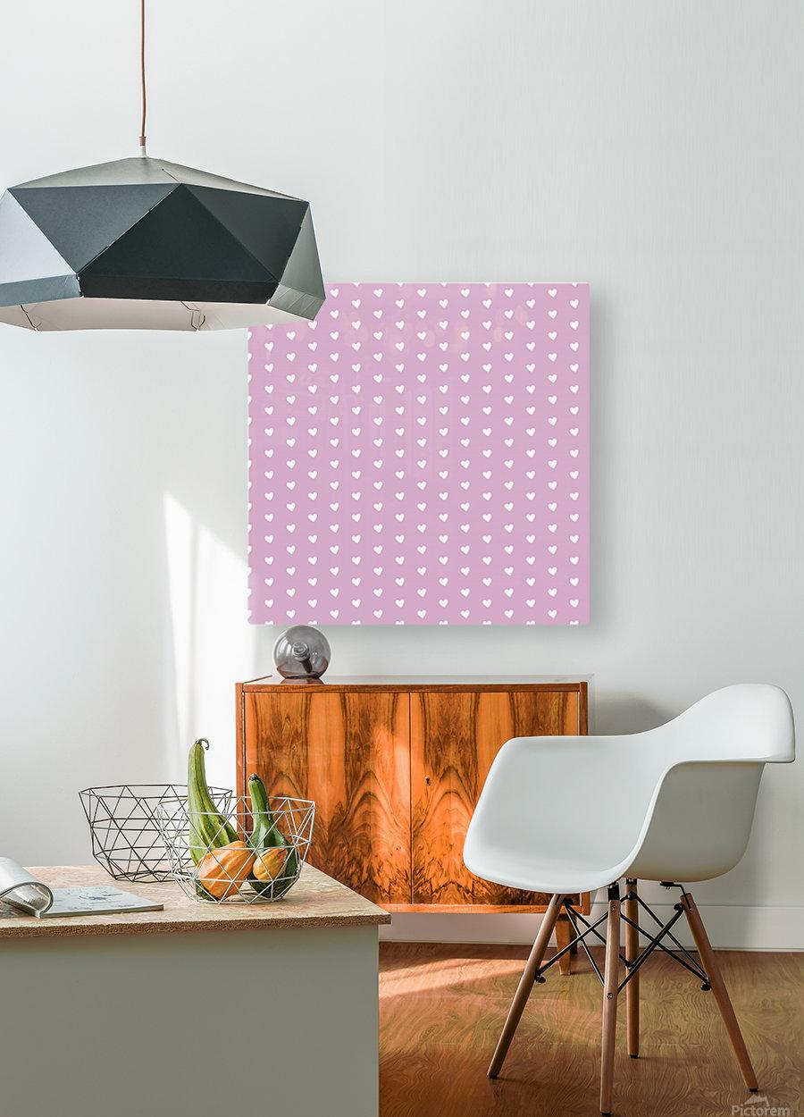 Lavender Heart Shape Pattern  HD Metal print with Floating Frame on Back