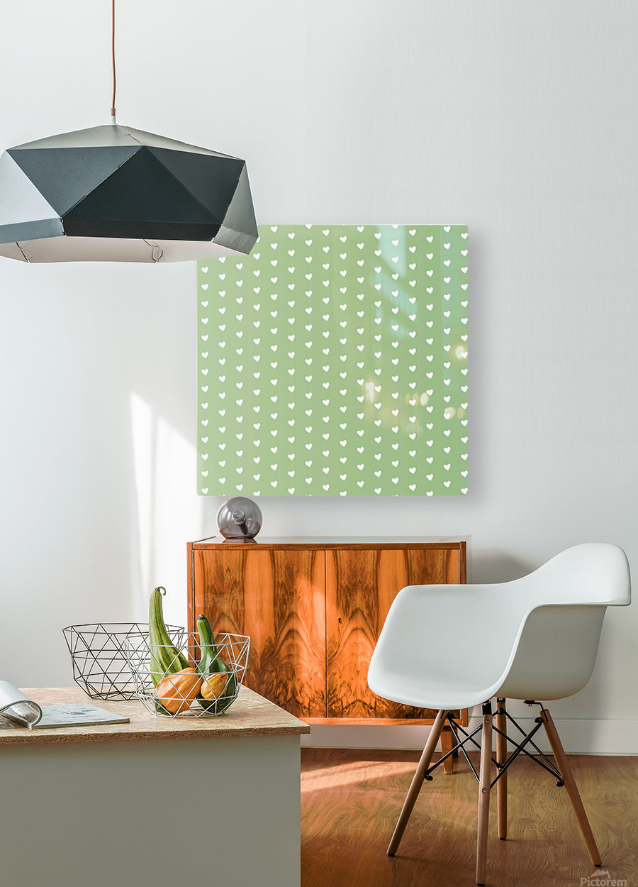 Green Blush Heart Shape Pattern  HD Metal print with Floating Frame on Back