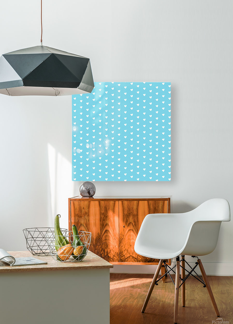Sky Blue Heart Shape Pattern  HD Metal print with Floating Frame on Back