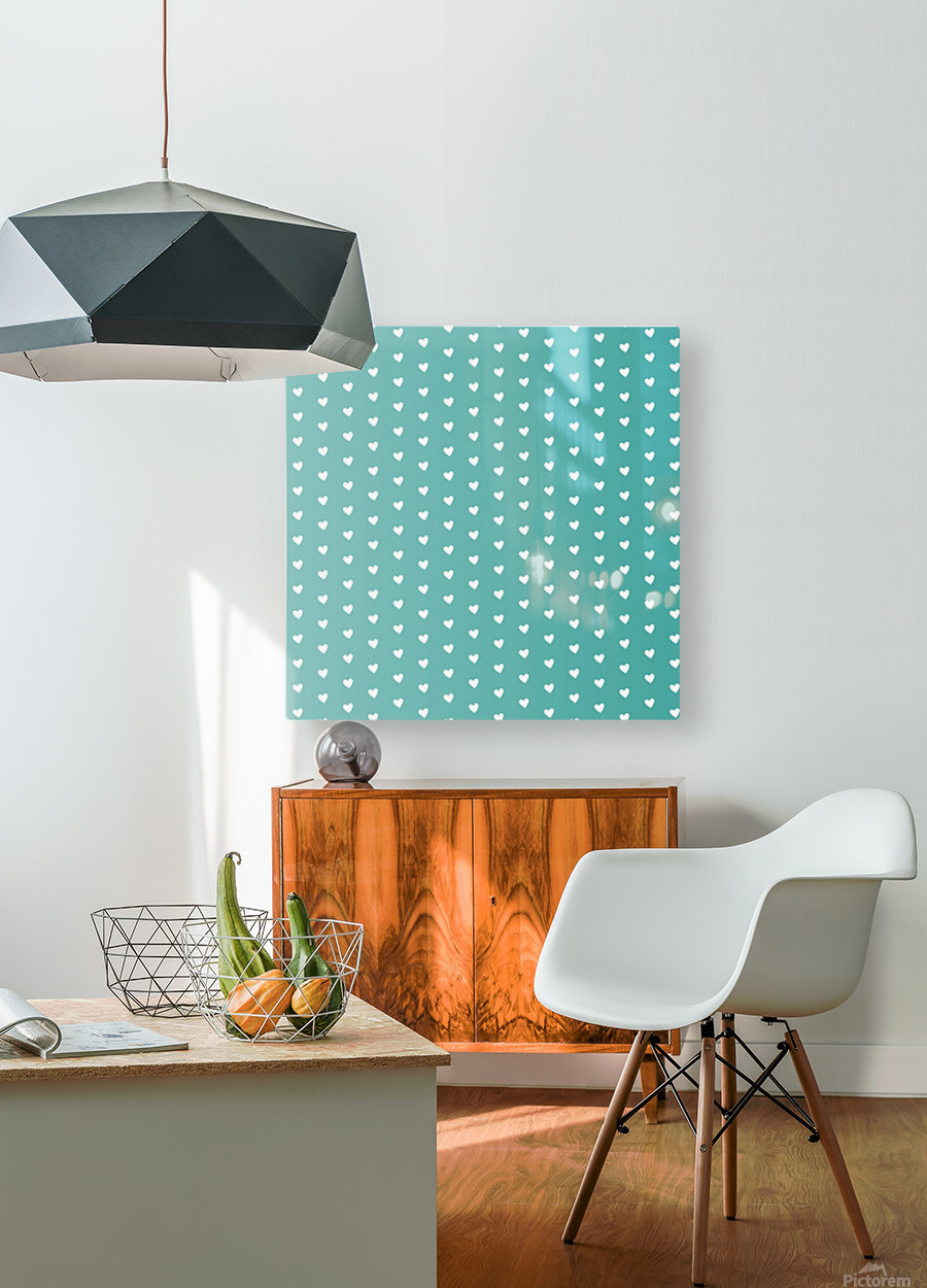 Teal Green Heart Shape Pattern  HD Metal print with Floating Frame on Back