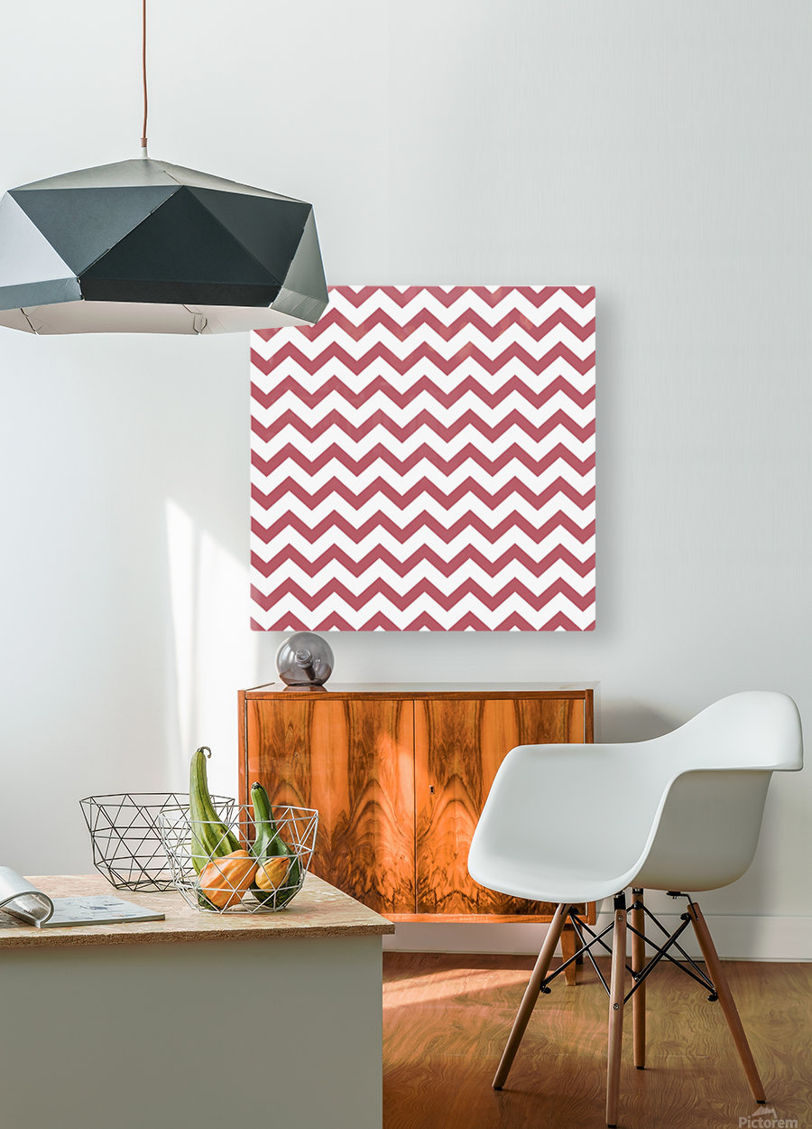 BERRY CHEVRON  HD Metal print with Floating Frame on Back