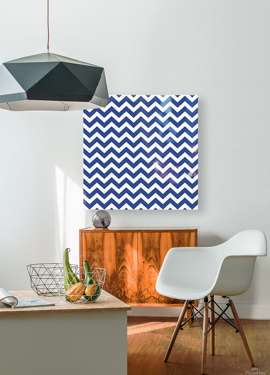 ROYAL BLUE CHEVRON  HD Metal print with Floating Frame on Back