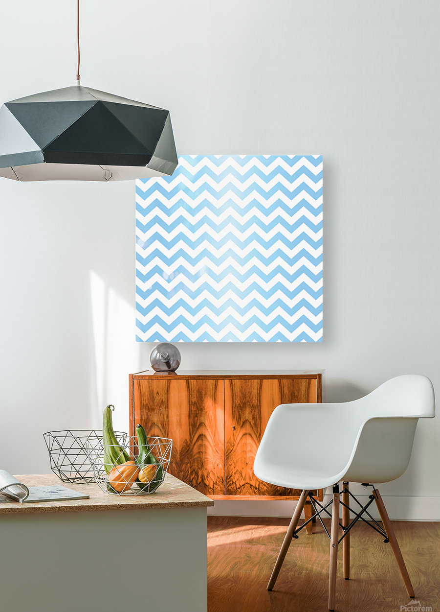 BLUE  PASTEL CHEVRON  HD Metal print with Floating Frame on Back
