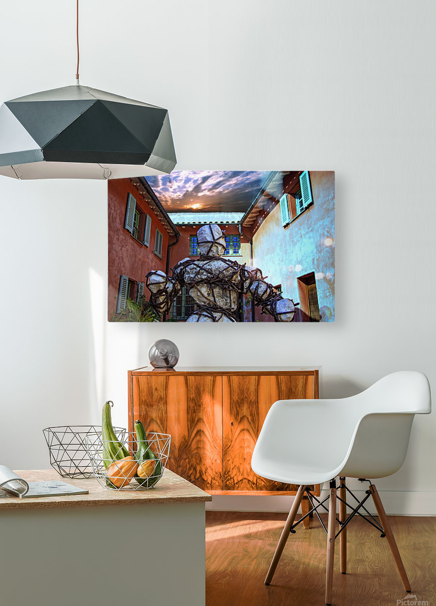 Stone Man in Courtyard  HD Metal print with Floating Frame on Back