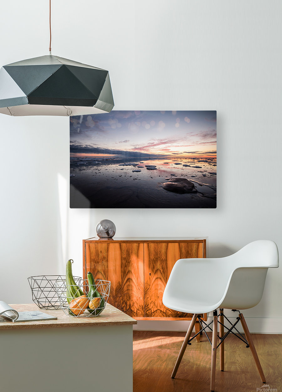 Ice flow  HD Metal print with Floating Frame on Back