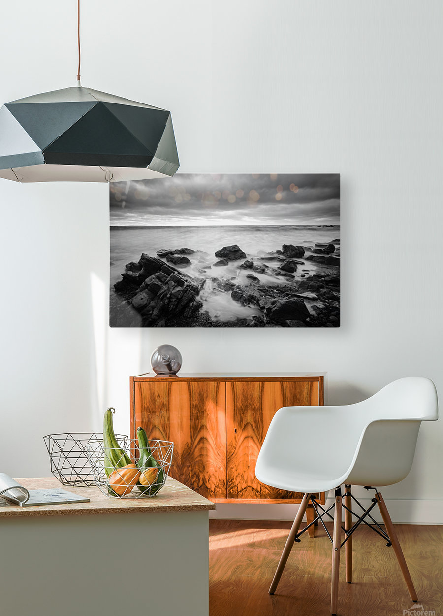 Rocky shore  HD Metal print with Floating Frame on Back