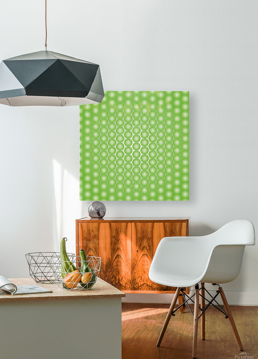 Yellow Green Pearl Pattern  HD Metal print with Floating Frame on Back