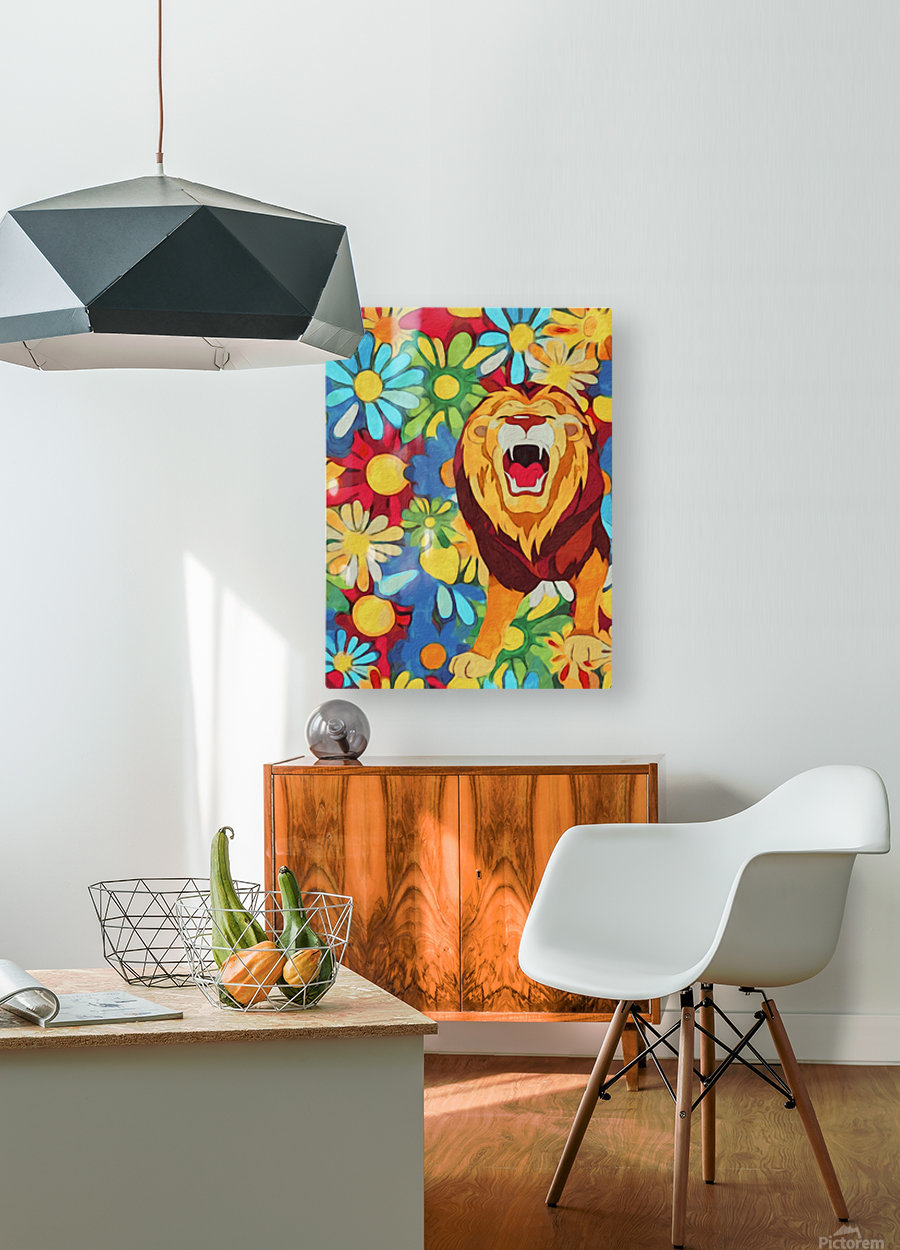 Lion and Flowers Fantasy   HD Metal print with Floating Frame on Back