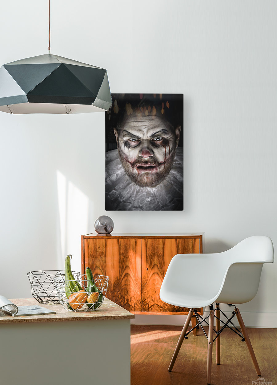 Scary Evil Clown  HD Metal print with Floating Frame on Back