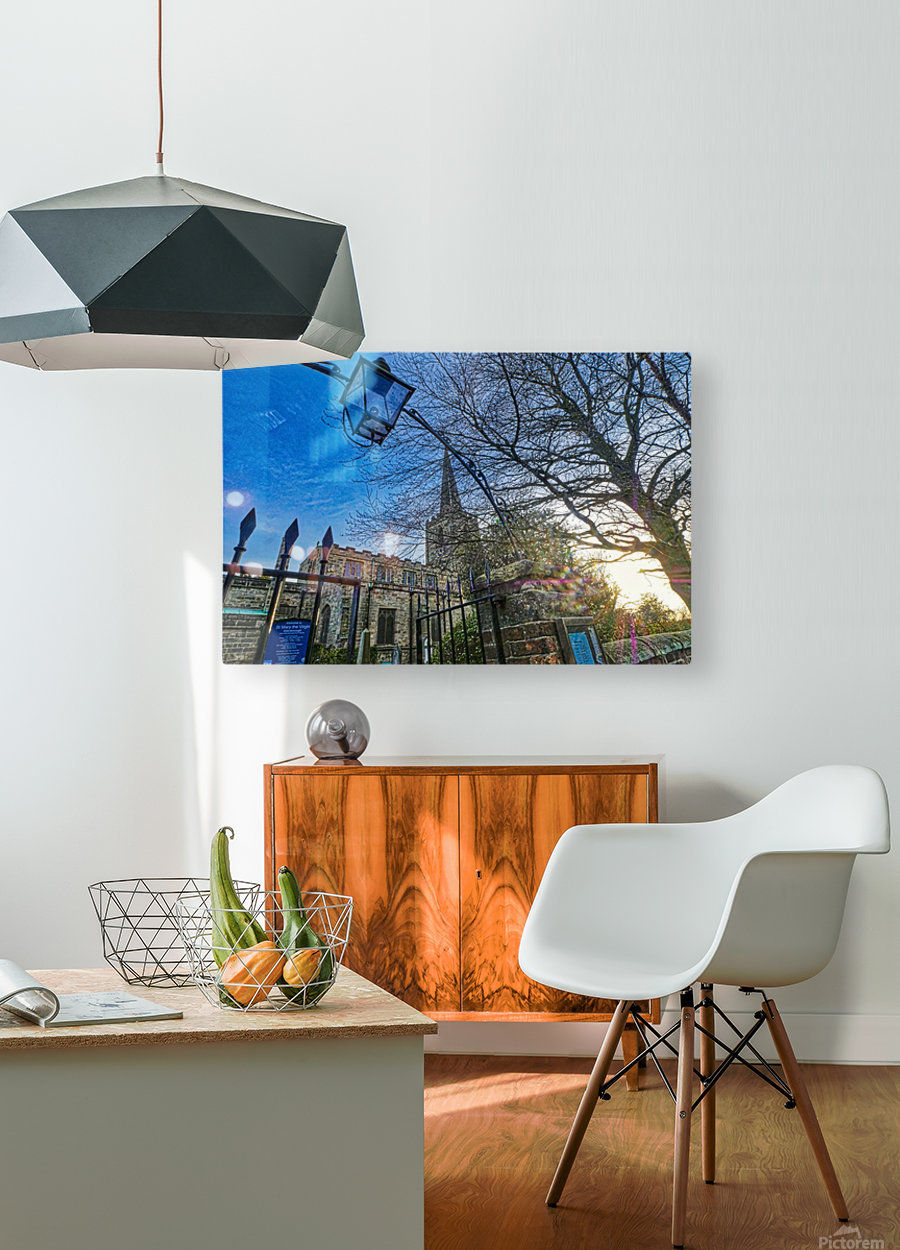 Church lamp  HD Metal print with Floating Frame on Back