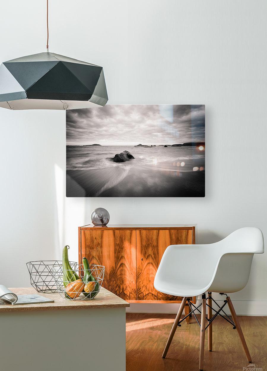 Peaceful Shore  Impression métal HD avec cadre flottant sur le dos