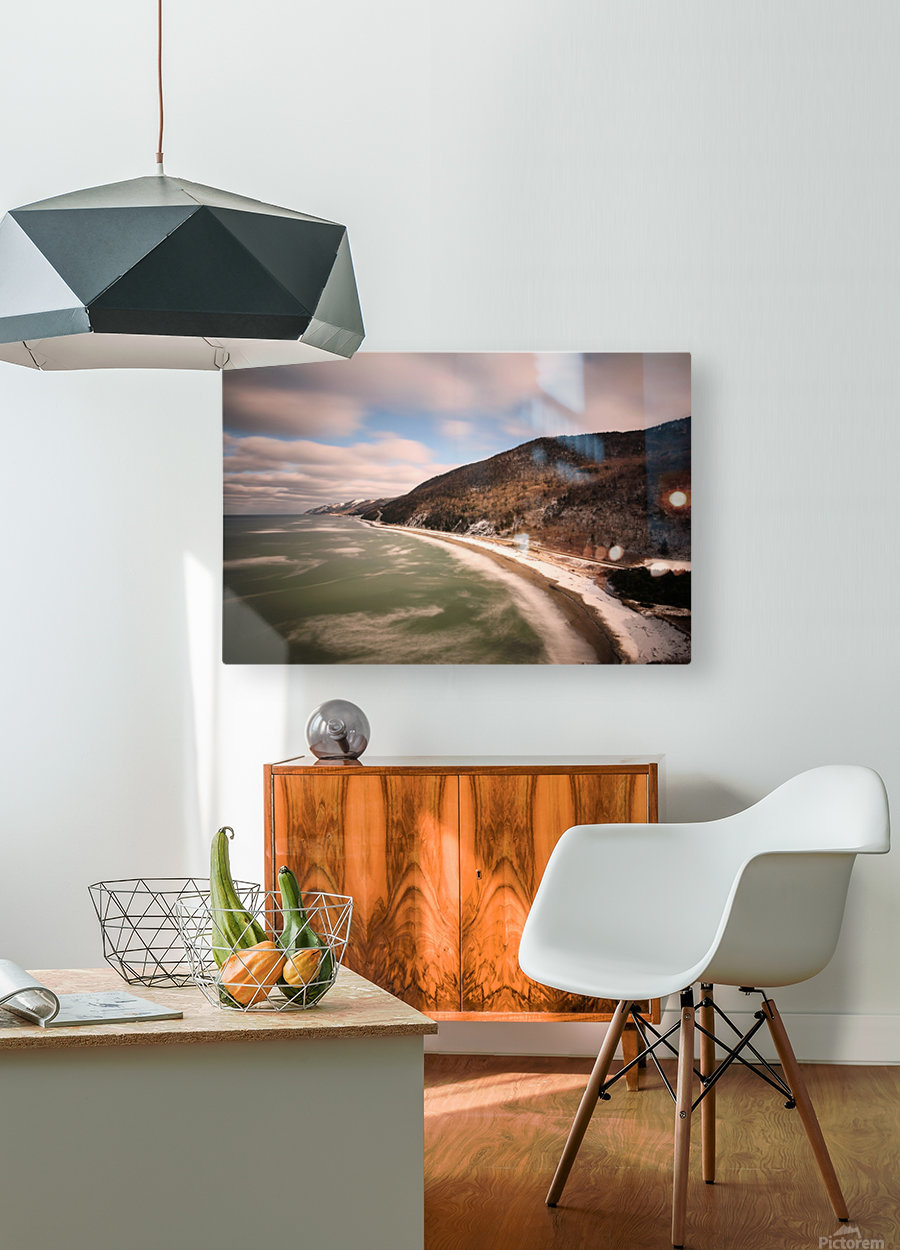 White Shoreline  HD Metal print with Floating Frame on Back