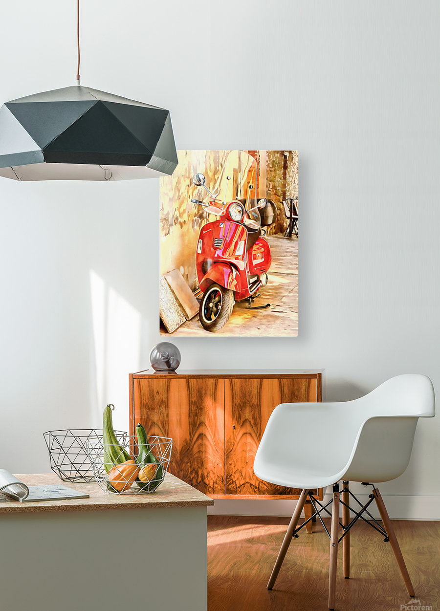 The Red Vespa  HD Metal print with Floating Frame on Back