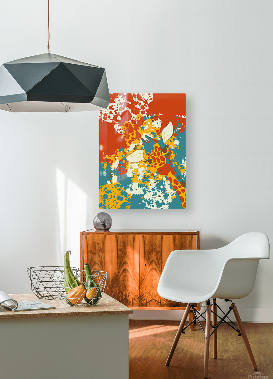 Cute Giraffe Abstract  HD Metal print with Floating Frame on Back