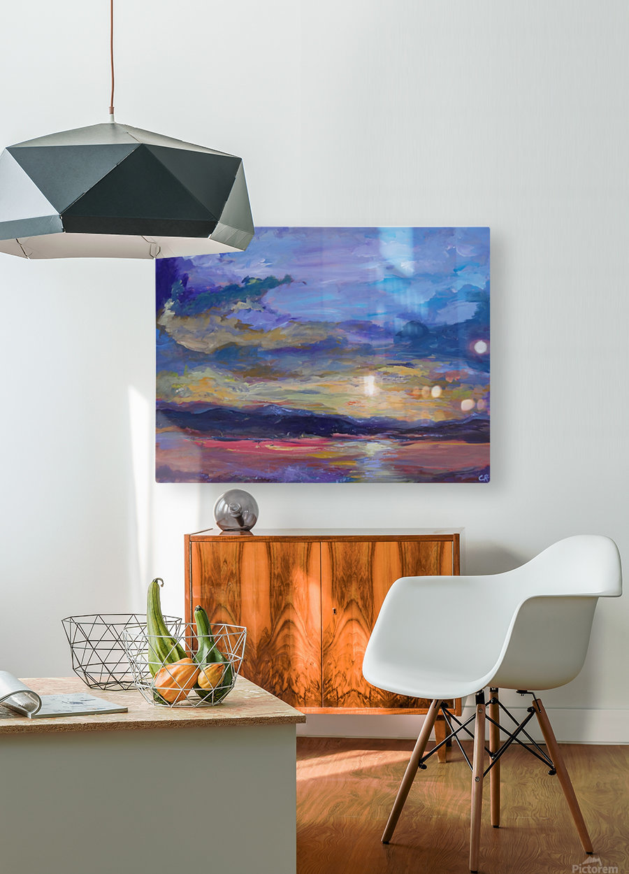 Colorado sunset over lake  HD Metal print with Floating Frame on Back