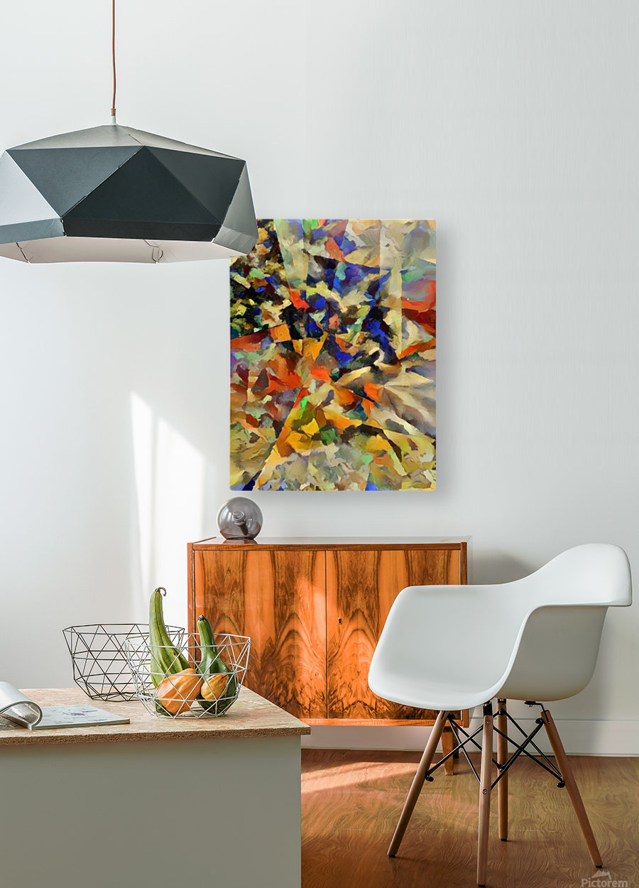Abstract Painting with Geometric Figures  HD Metal print with Floating Frame on Back