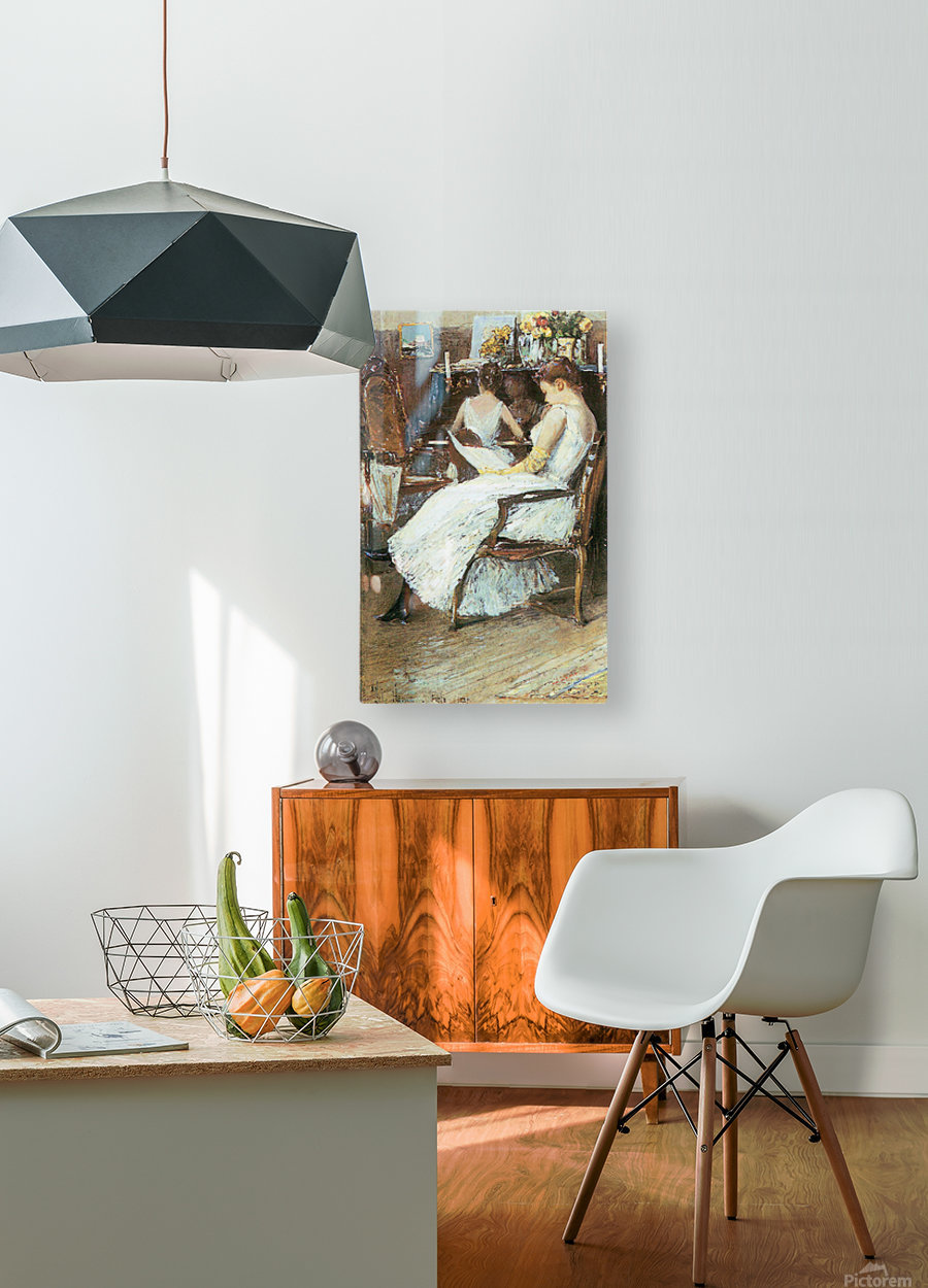 Mrs. Hassam and her sister by Hassam  HD Metal print with Floating Frame on Back