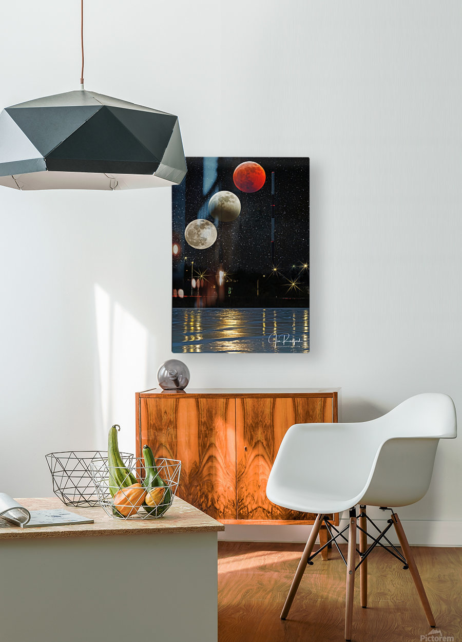 Moon Eclipse   HD Metal print with Floating Frame on Back
