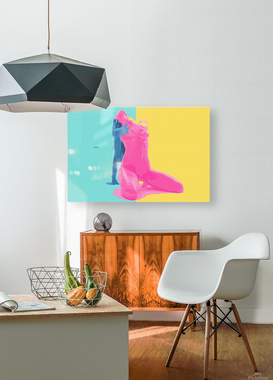 Pink Desert Blue Girl  HD Metal print with Floating Frame on Back